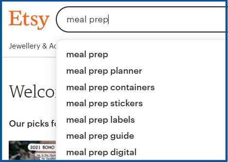 meal prep keyword on etsy